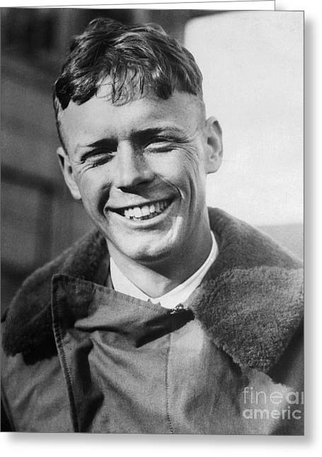 Charles Lindbergh, American Aviator Greeting Card by Science Source