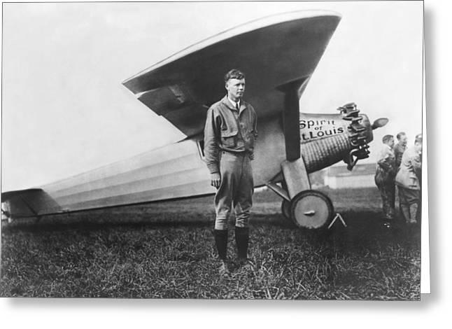 Airfield Greeting Cards - Charles Lindbergh Greeting Card by American School