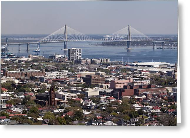 Aerial Greeting Cards - Charleston South Carolina Aerial Greeting Card by Dustin K Ryan