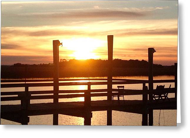 James Pyrography Greeting Cards - Charleston sunset 4 Greeting Card by Mary Caruso