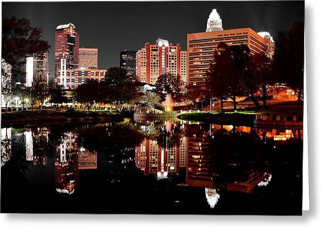 Charlotte Greeting Cards - Charlotte Night Reflection Greeting Card by Frozen in Time Fine Art Photography