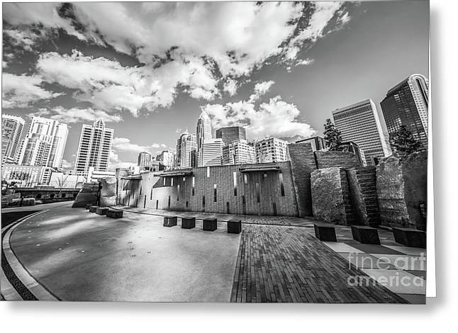 Charlotte North Carolina Black And White Photo Greeting Card by Paul Velgos