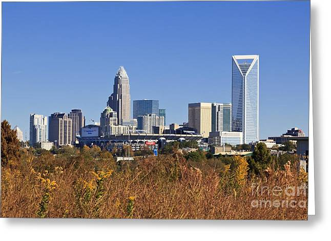 Uptown Rooftop Greeting Cards - Charlotte Skyline from Wilkinson Blvd Greeting Card by Jill Lang