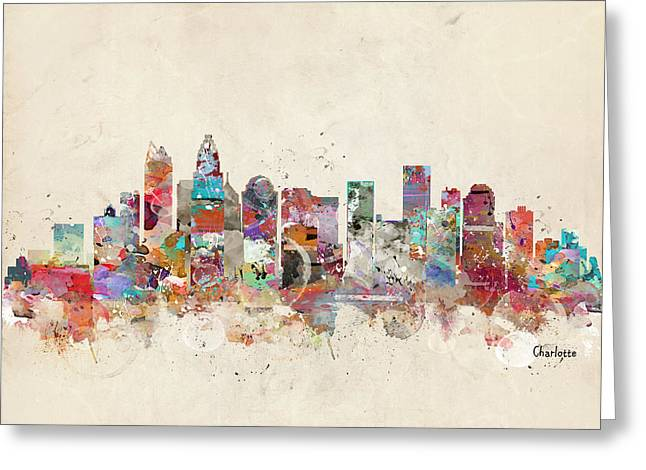 Charlotte Skyline North Carolina Greeting Card by Bri B