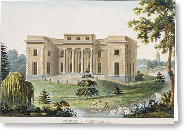 Facades Drawings Greeting Cards - Chateau at Vinderhaute Greeting Card by Pierre Jacques Goetghebuer
