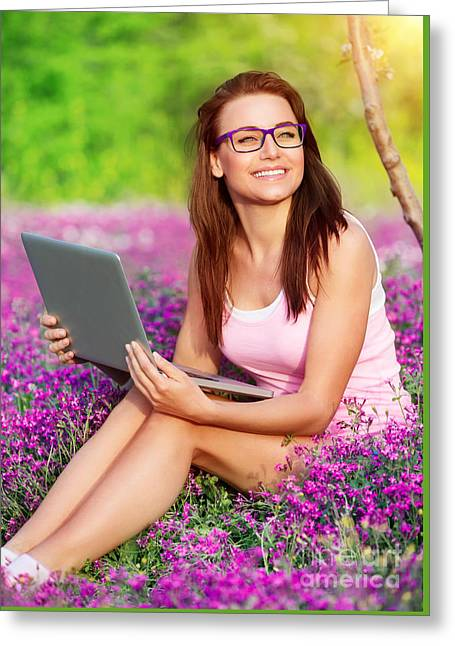 Nature Study Greeting Cards - Cheerful student girl in the park Greeting Card by Anna Omelchenko