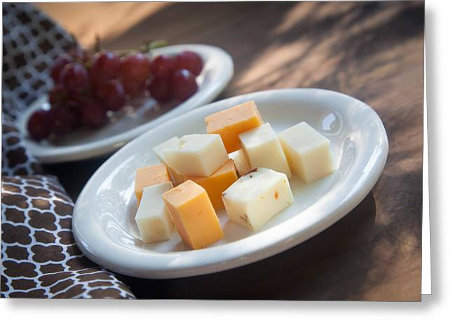 Cheese Plate With Red Seedless Grapes Greeting Card by Erin Cadigan
