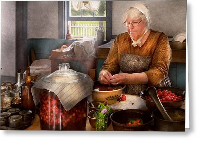 Grandmas Kitchen Greeting Cards - Chef - Kitchen - Cleaning cherries  Greeting Card by Mike Savad