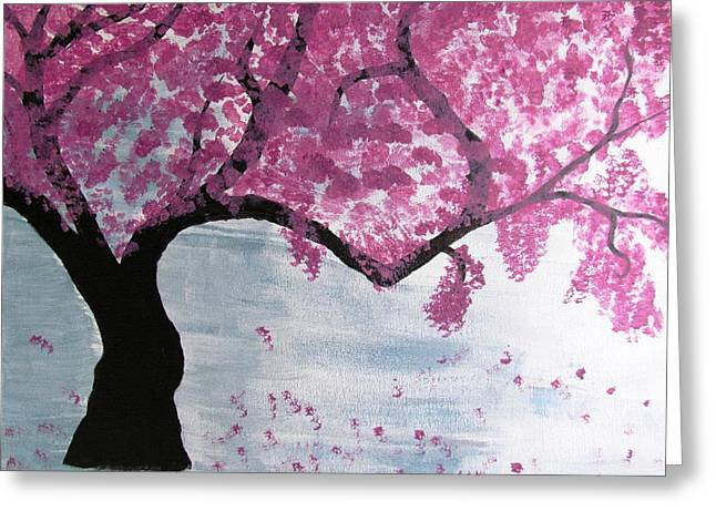 Cherry Blossoms Paintings Greeting Cards - Cherry Blossom Greeting Card by Diana Martinez