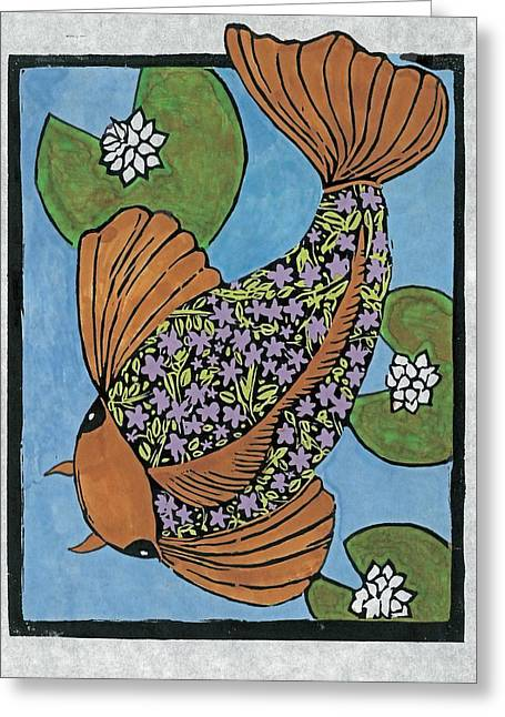 Cherry Blossom Koi Greeting Card by Ruth Egnater