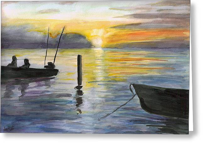 Sun Rays Paintings Greeting Cards - Chesapeake Sunset Greeting Card by Clara Sue Beym