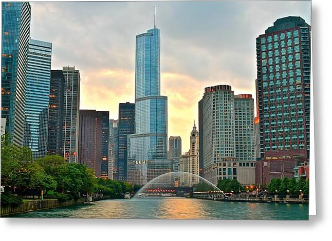 The Bean Greeting Cards - Chicago at Dusk Greeting Card by Frozen in Time Fine Art Photography