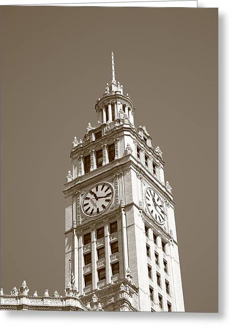 Clocktower Greeting Cards - Chicago Clock Tower Greeting Card by Frank Romeo