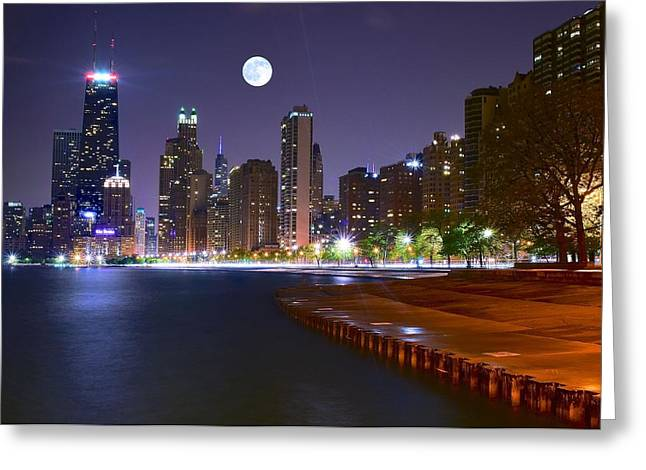 Theater Town Greeting Cards - Chicago from the North Greeting Card by Frozen in Time Fine Art Photography