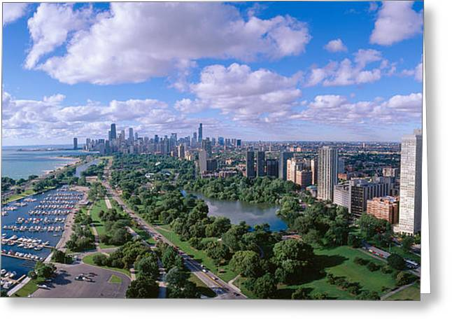 Central Illinois Greeting Cards - Chicago Harbor, City Skyline, Illinois Greeting Card by Panoramic Images