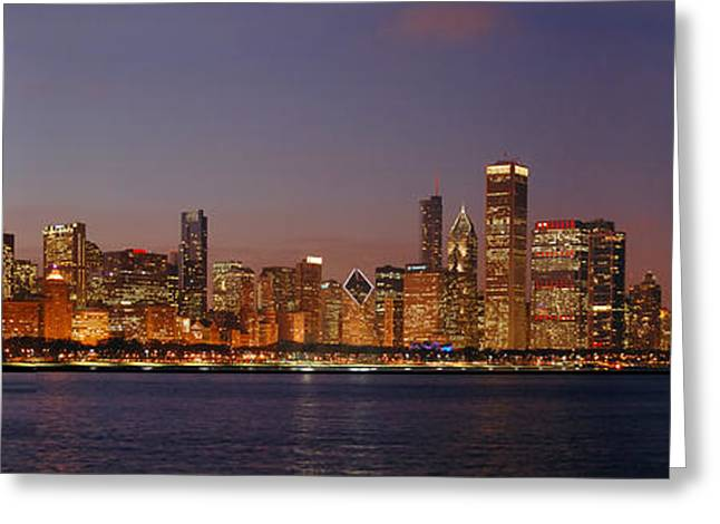 Sunset Scenes. Greeting Cards - Chicago Skyline at DUSK Panorama Greeting Card by Jon Holiday
