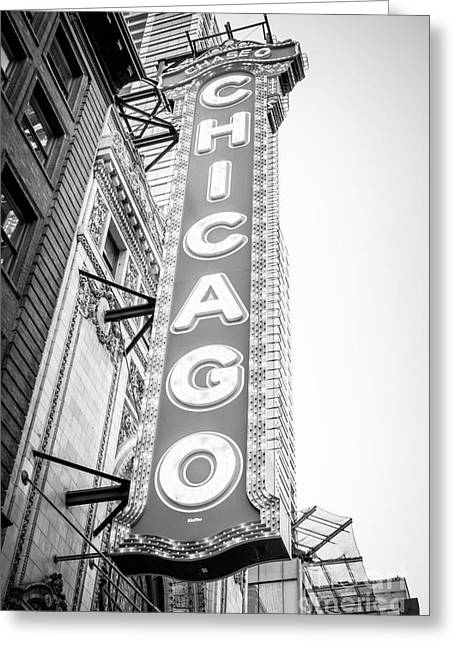 Chicago Theatre Sign Black And White Photo Greeting Card by Paul Velgos