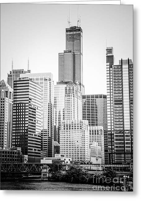 Chicago With Sears Willis Tower In Black And White Greeting Card by Paul Velgos