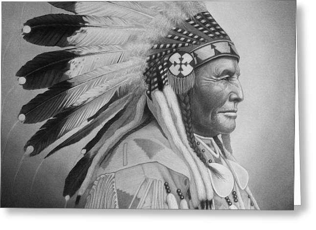 Realistic Drawings Greeting Cards - Chief Greeting Card by Tim Dangaran