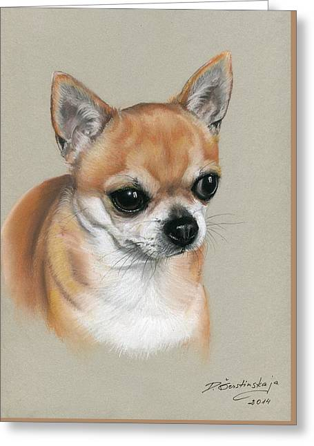 Photorealism Pastels Greeting Cards - Chihuahua Greeting Card by Danguole Serstinskaja
