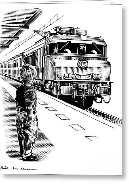 Linocut Greeting Cards - Child Train Safety, Artwork Greeting Card by Bill Sanderson