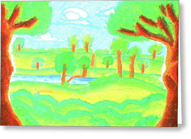 Painted Details Drawings Greeting Cards - Childrens paint summer nature  Greeting Card by Sujin Jetkasettakorn