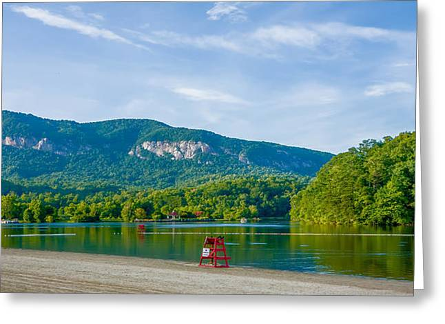 Mountain Valley Greeting Cards - Chimney Rock Town And Lake Lure Scenes Greeting Card by Alexandr Grichenko