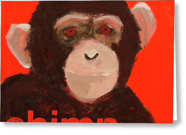 Safari Prints Greeting Cards - Chimpanzee Greeting Card by Laurie Breen