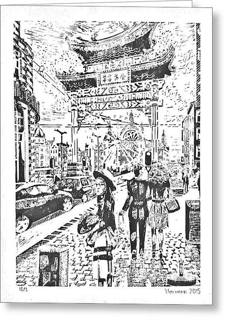 China Town In Antwerpen Greeting Card by Varvara Stylidou