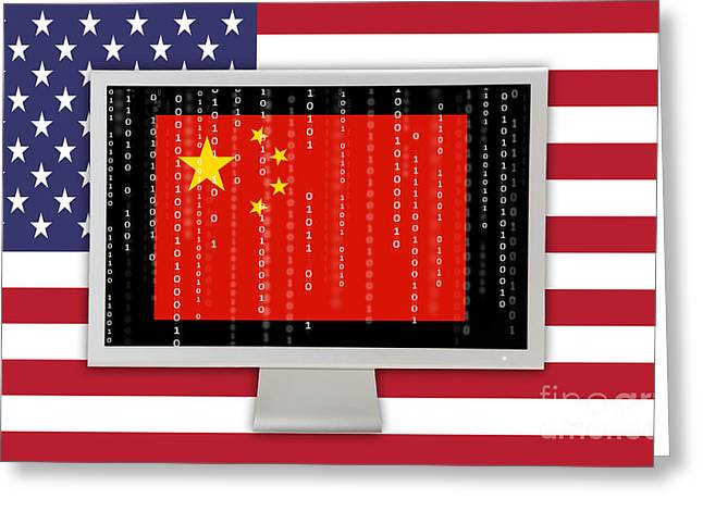 Firewall Greeting Cards - Chinese Computer Hacking Greeting Card by George Mattei