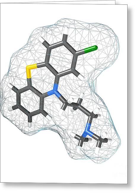 Bipolar Greeting Cards - Chlorpromazine, Molecular Model Greeting Card by Spencer Sutton