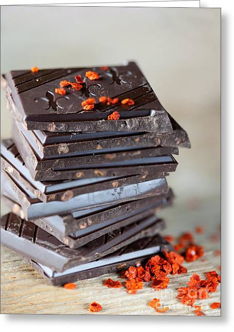 Ingredients Greeting Cards - Chocolate and Chili Greeting Card by Nailia Schwarz