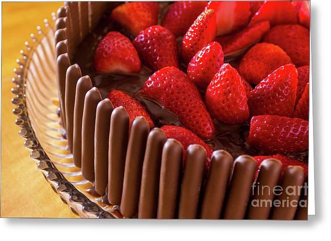 Chocolate And Strawberry Cake Greeting Card by Carlos Caetano