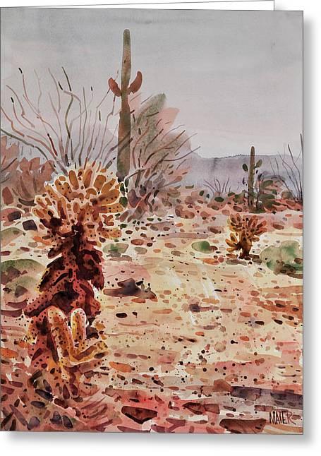 Ocotillo Cactus Greeting Cards - Cholla Saguaro and Ocotillo Greeting Card by Donald Maier