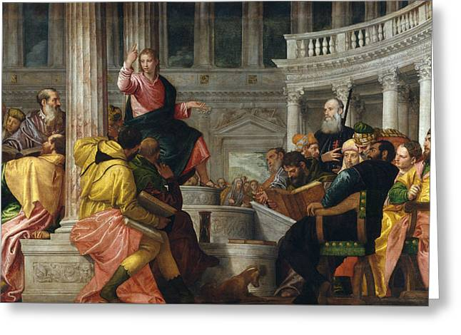 Christ Among The Doctors In The Temple Greeting Card by Paolo Veronese