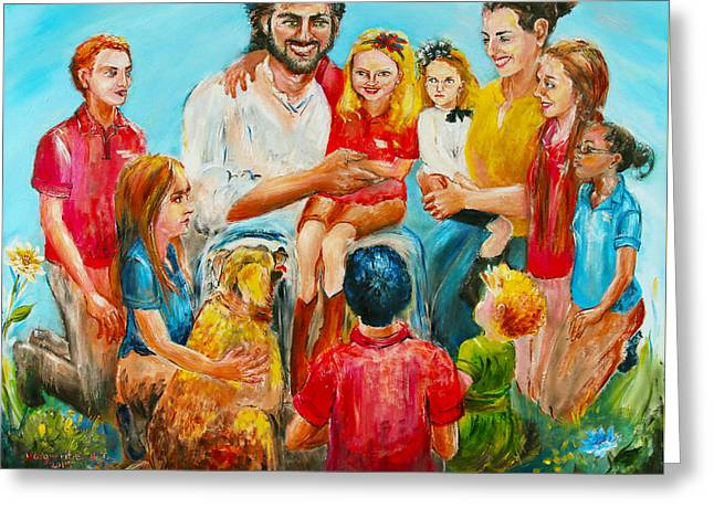 Bible Paintings Greeting Cards - Christ and the Children Greeting Card by Marguerite Ujvary Taxner