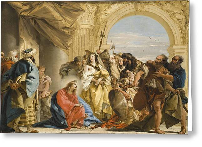 Adultery Greeting Cards - Christ and the Woman taken in Adultery Greeting Card by Giovanni Domenico Tiepolo