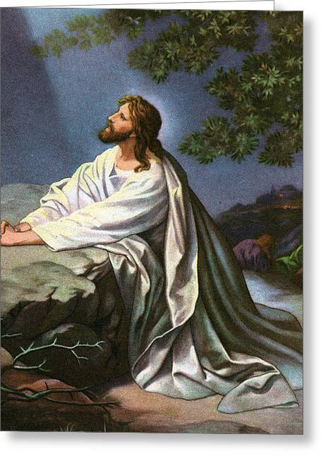 Son Of God Drawings Greeting Cards - Christ in the Garden of Gethsemane Greeting Card by Heinrich Hofmann