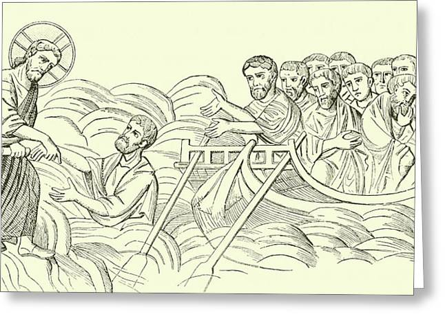 Christ Walking On The Water Greeting Card by English School