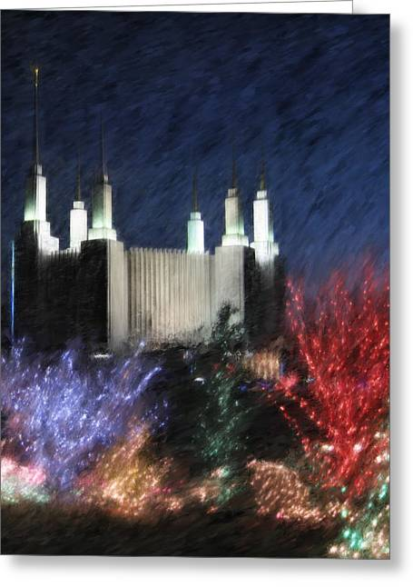 Christmas At The Temple Greeting Card by Geoffrey C Lewis