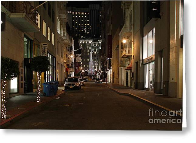 Union Square Greeting Cards - Christmas Eve 2009 on Maiden Lane in San Francisco Greeting Card by Wingsdomain Art and Photography