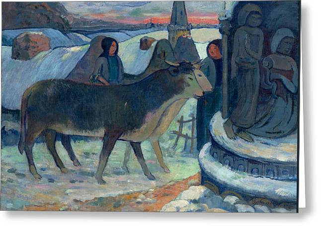Gauguin Style Greeting Cards - Christmas Night The Blessing of the Oxen Greeting Card by Paul Gauguin