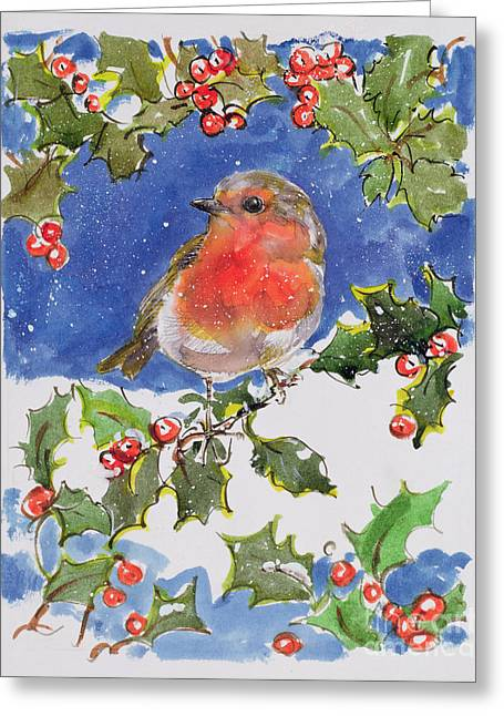 Berry Paintings Greeting Cards - Christmas Robin Greeting Card by Diane Matthes