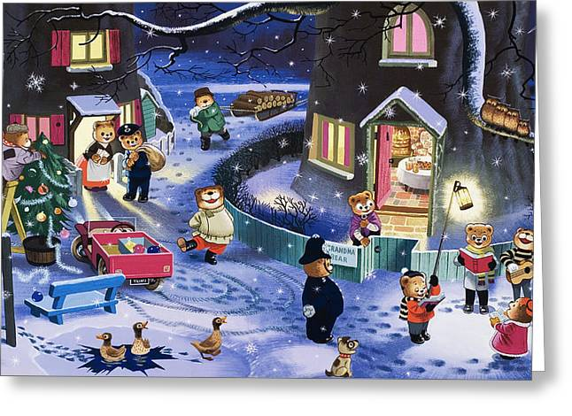 Bear Cartoon Greeting Cards - Christmas Scene Greeting Card by English School