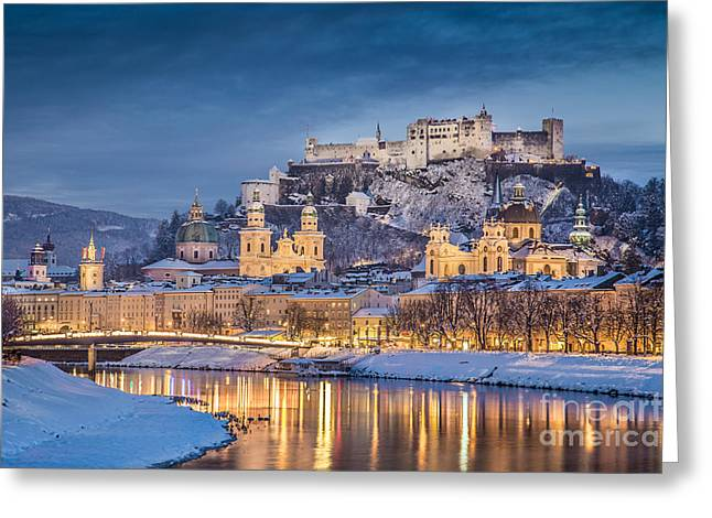 Salzburg Greeting Cards - Christmas Time in Salzburg Greeting Card by JR Photography