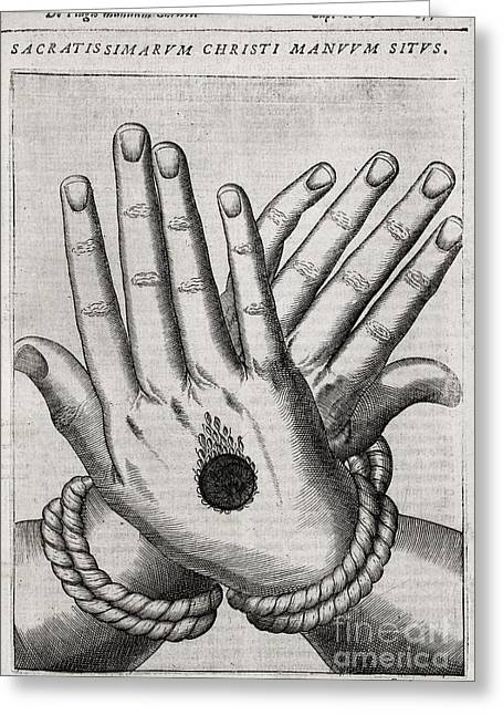 Human Sacrifice Artwork Greeting Cards - Christs Stigmata, 1607 Greeting Card by Middle Temple Library
