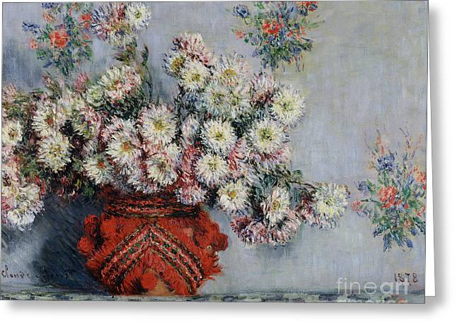 Chrysanthemum Greeting Cards - Chrysanthemums Greeting Card by Claude Monet
