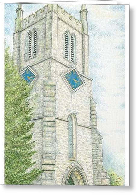 Ecclesiastical Architecture Greeting Cards - Church Clock Greeting Card by Sandra Moore