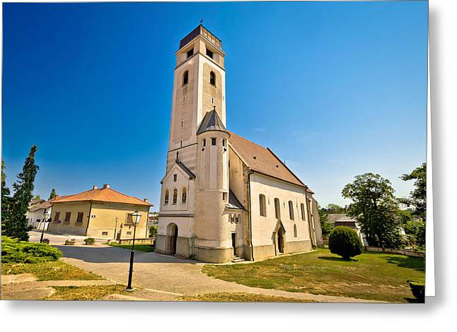 Town Square Greeting Cards - Church of Holy cross in Krizevci Greeting Card by Dalibor Brlek