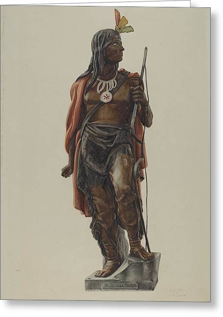 Cigar Drawings Greeting Cards - Cigar Store Indian Greeting Card by Maurice Van Felix And Elizabeth Fairchild